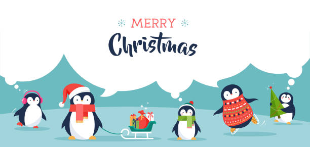 cute penguins banner - merry christmas greetings - pinguin stock-grafiken, -clipart, -cartoons und -symbole