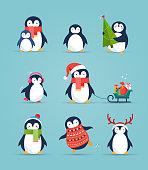 Cute penguins set - Merry Christmas greetings