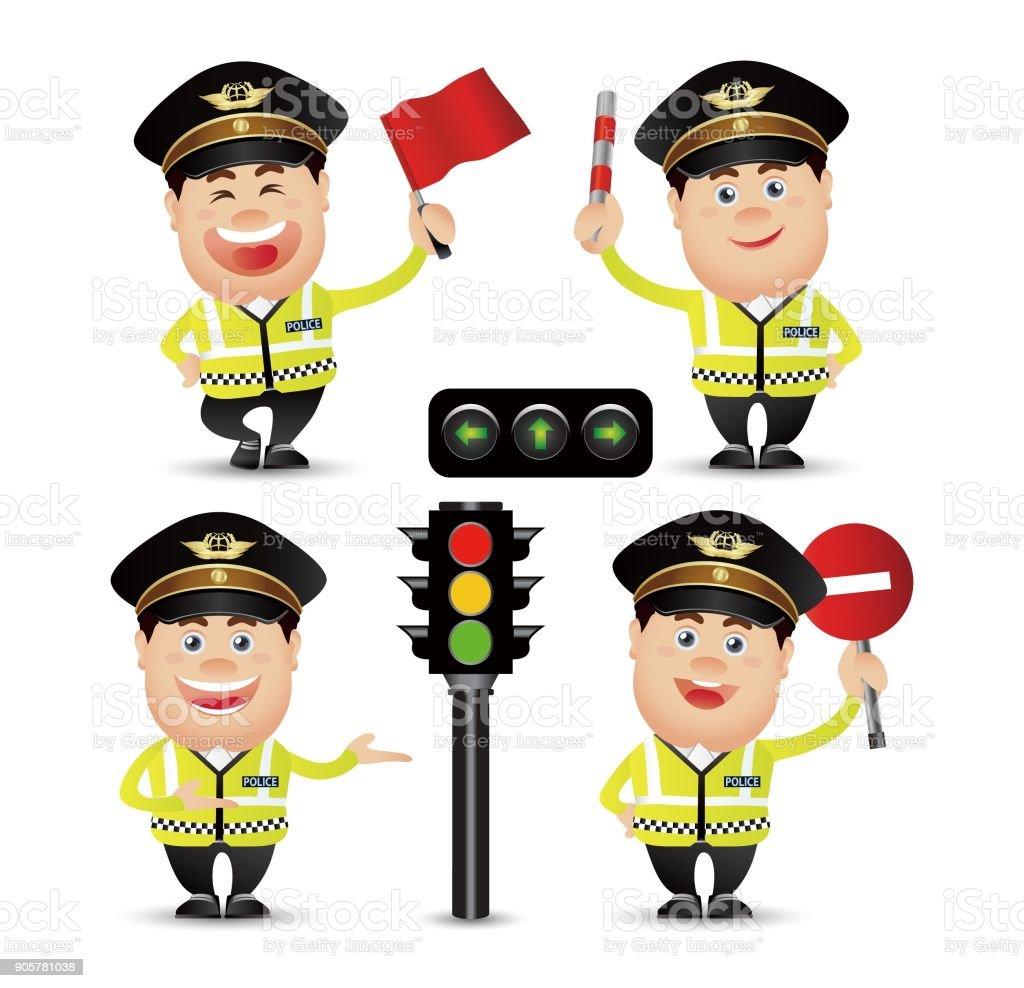 Cute People - policeman vector art illustration