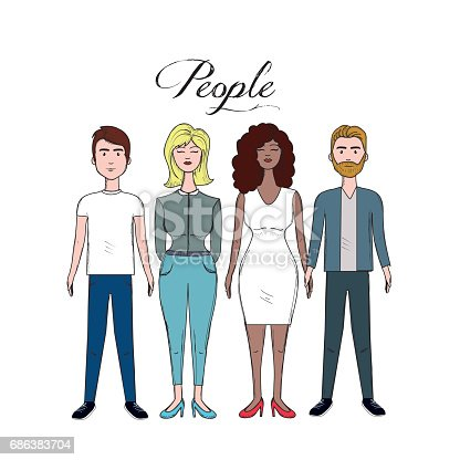 cute people with hairstyle and different wears, vector illustration