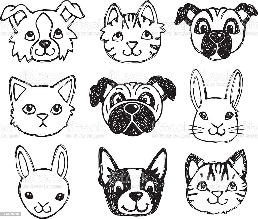 Cute pet animal faces vector art illustration