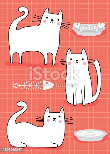 Cute pet cats white on pink background
