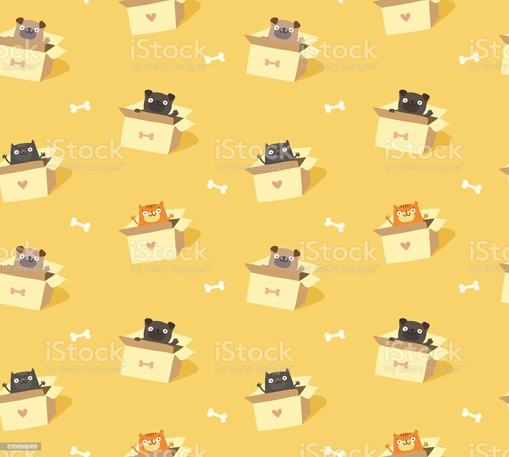Cute pets seamless pattern. Cats and dogs in cardboard boxes royalty-free cute pets seamless pattern cats and dogs in cardboard boxes stock vector art & more images of animal