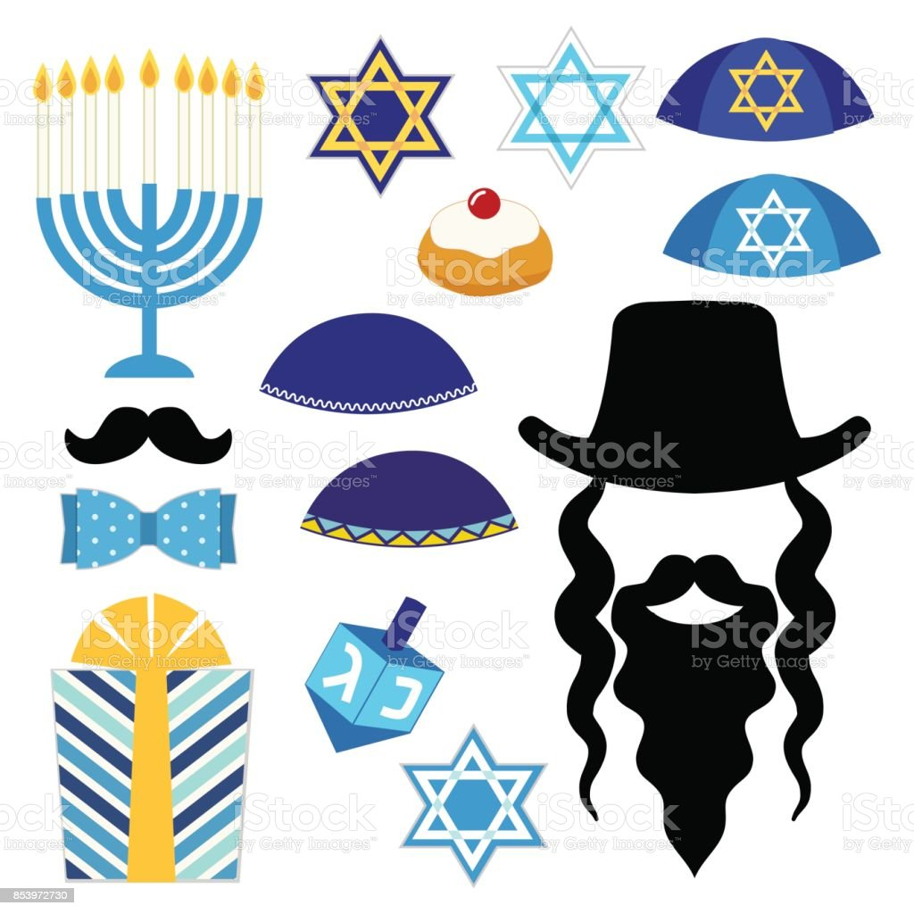 Cute photo booth props for Hanukkah. Grab a prop and strike a pose vector art illustration