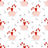 Cute pig and hearts seamless background. Lovely animal in Valentine theme.