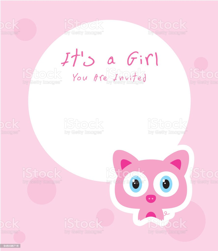 cute pig baby arrival announcement message card vector stock vector