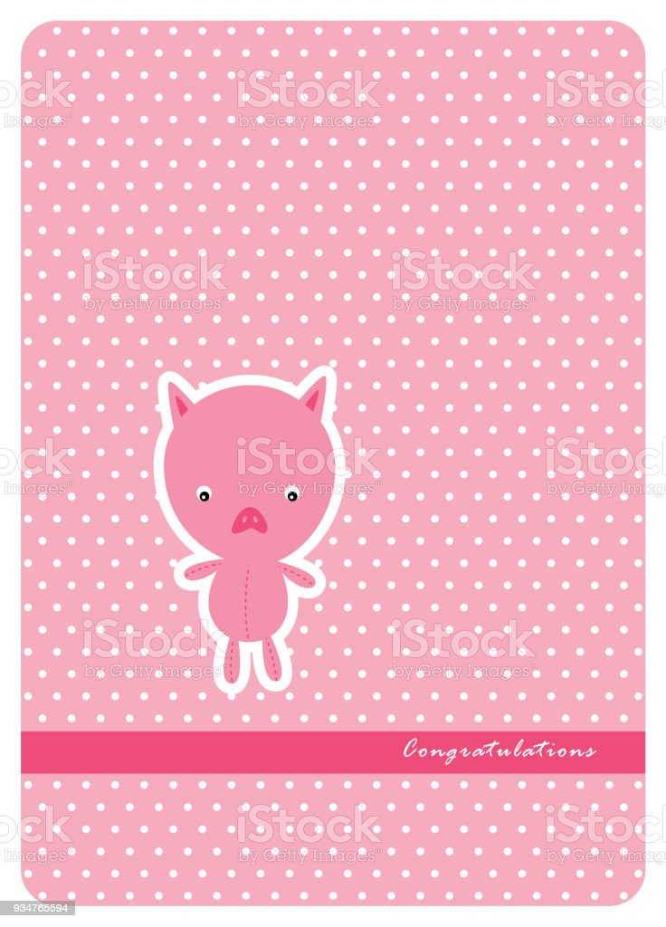 Cute Pig Baby Shower Greeting Card Royalty Free Stock