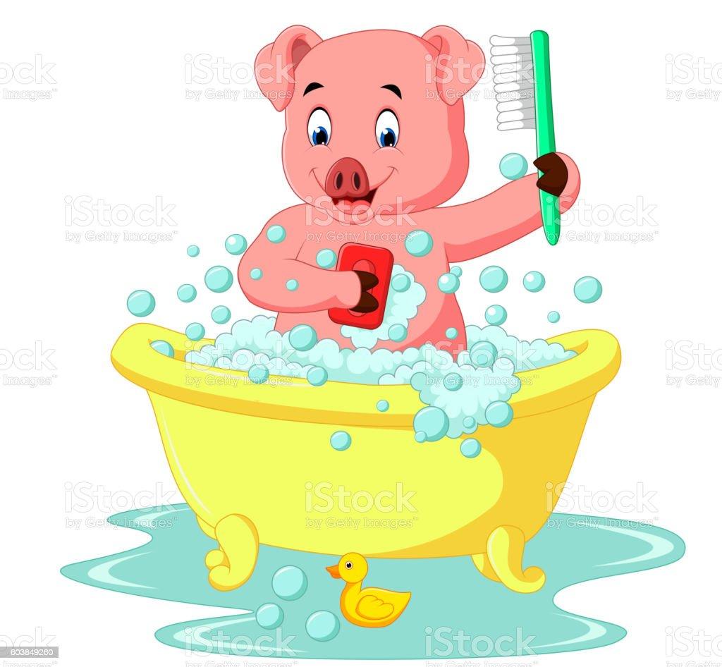 cute pig bathing time vector art illustration