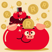 Unique business animal characters vector art illustration. Cute pig businessman that is wearing a suit with briefcase and top hat is putting South African Rand Sign Currency into a large piggy bank.