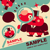 Unique Characters Full Length Vector art illustration.Copy Space. Cute pig businessman with magnifying glass and briefcase, Year Of The Pig.