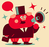 Unique Characters Full Length Vector art illustration.Copy Space. Cute pig businessman with megaphone and briefcase greeting, Year Of The Pig.