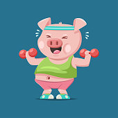 Funny kawaii pig working out fitness. Exercise with dumbbells. Vector cartoon illustration isolated on background.