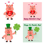 Cute Pig Cartoon Character Set 2. Flat Vector Collection Isolated On White Background