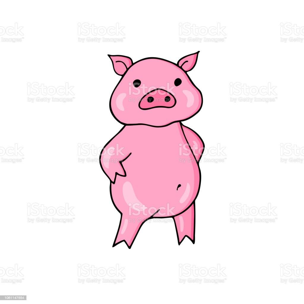 Caricature De Mignon De Porc Caractere De Cochon Joyeux Vecteur De Drole Vecteurs Libres De Droits Et Plus D Images Vectorielles De Abstrait Istock