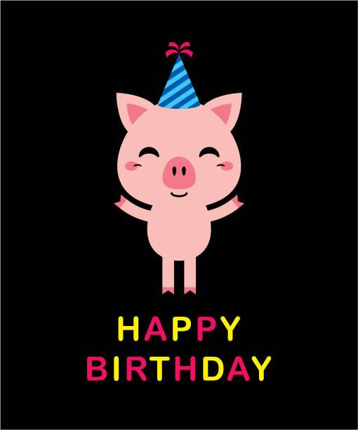 niedliche Schwein Cartoon alles Gute zum Geburtstag Gruß Vektor – Vektorgrafik