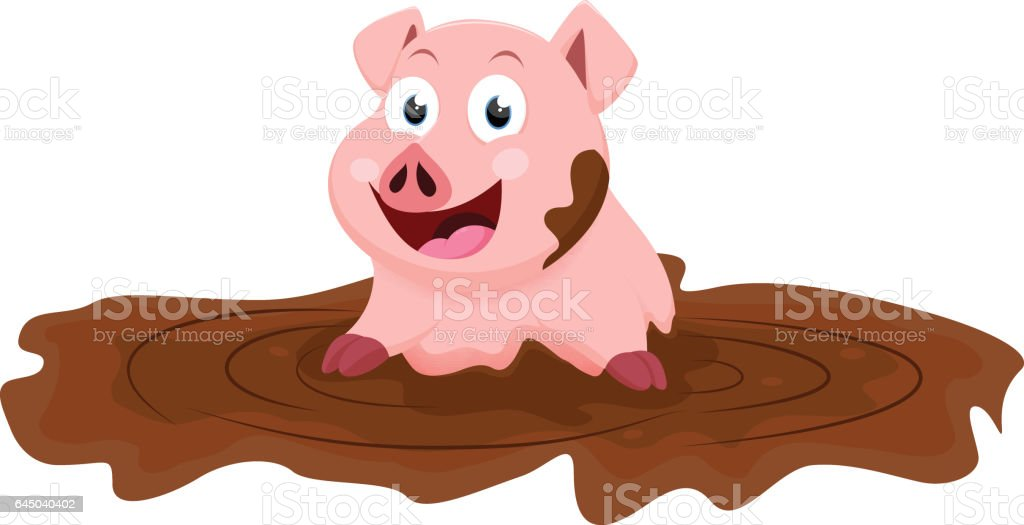 royalty free muddy pig clip art vector images illustrations istock rh istockphoto com clipart pigs at the trough clip art pig silhouette