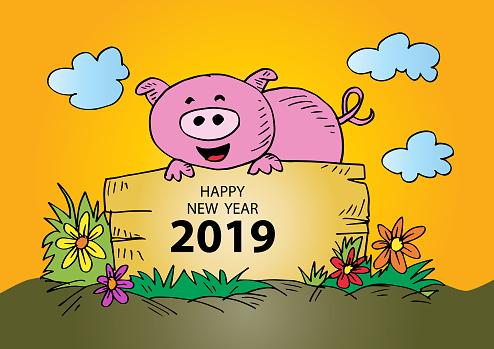 Kleurplaten Gelukkig Nieuwjaar 2019.Leuk Varken Kleurplaat Boek Met Tekst Gelukkig Nieuwjaar 2019