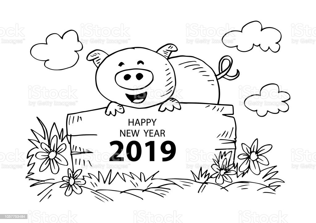 Year of the pig 2019 coloring pages ~ Cute Pig Coloring Book With Text Happy New Year 2019 Stock ...
