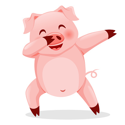 Cute pig dabbing. Vector illustration isolated on white background