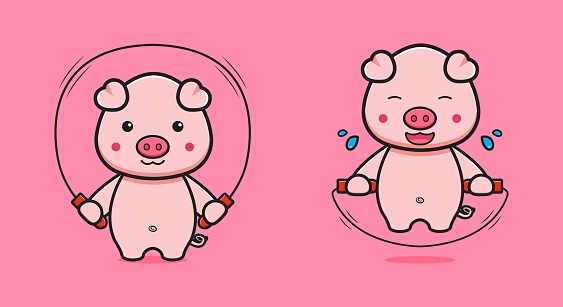 Cute pig do jump rope cartoon icon illustration.