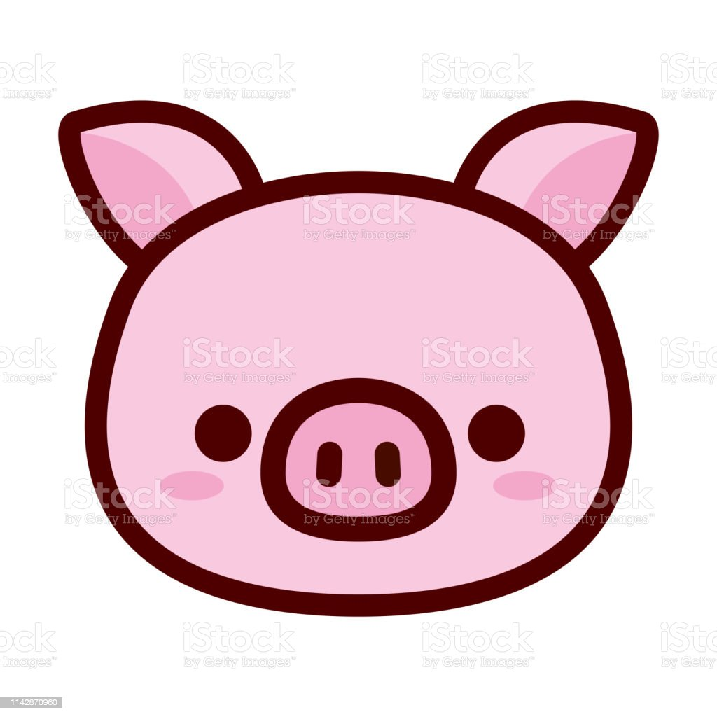 Cute Pig Face Isolated On White Background Stock Illustration Download Image Now Istock