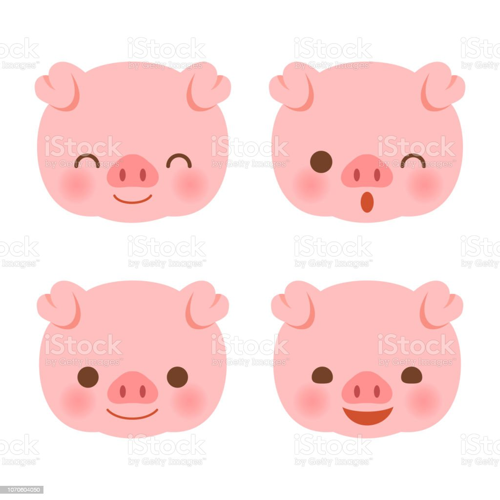 Cute Pig Faces Set Stock Illustration Download Image Now Istock
