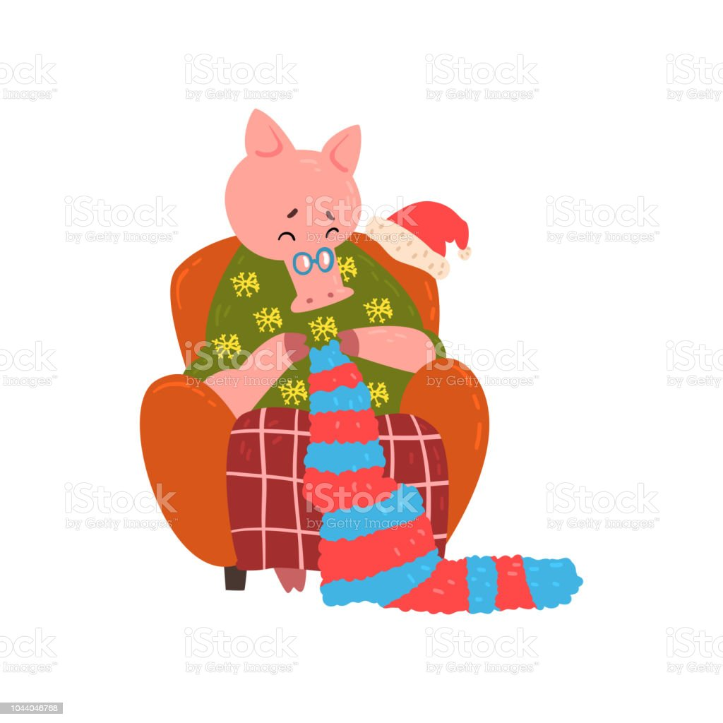 Cute Pig Grandmother Character Sitting In Cozy Armchair And Knitting