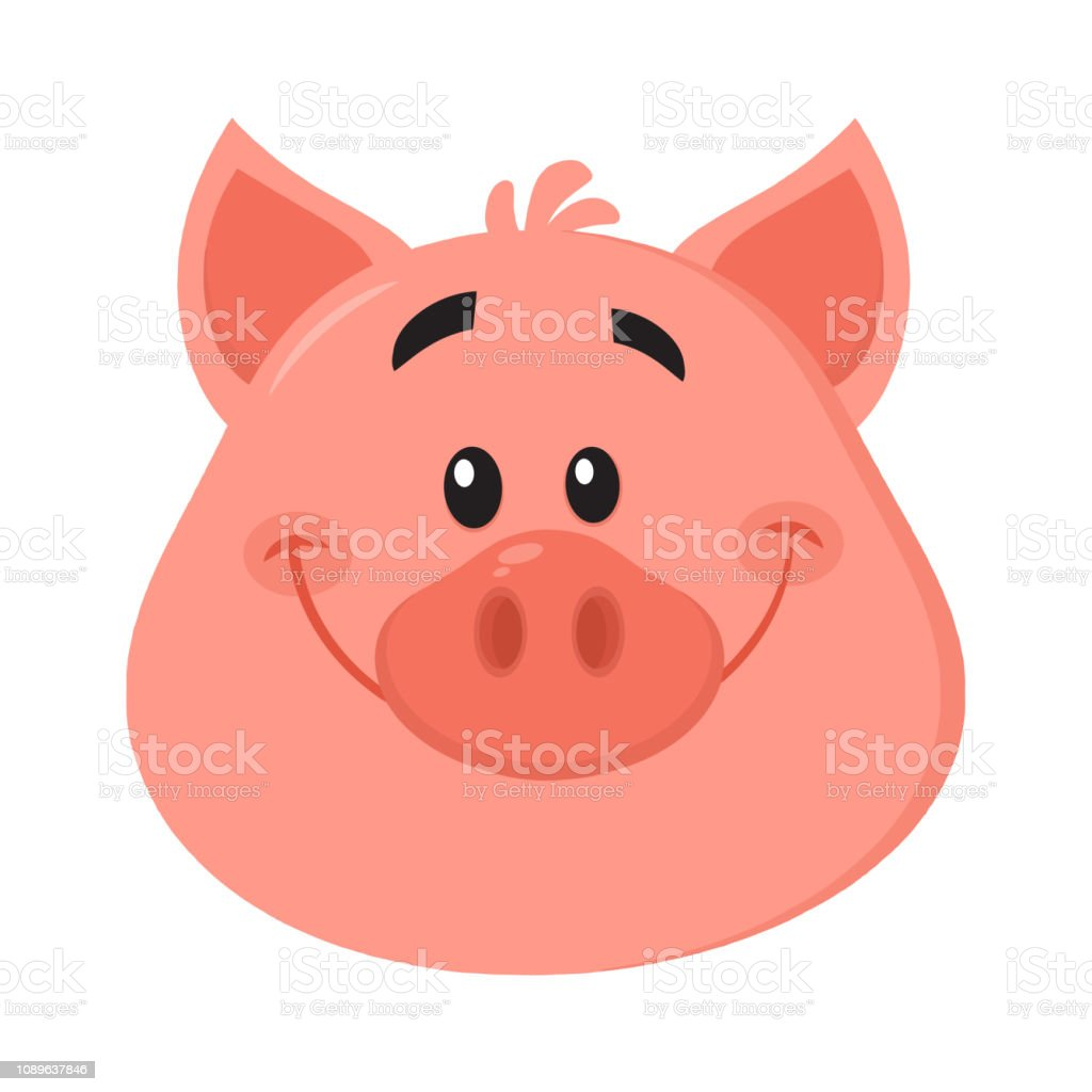 Cute Pig Head Cartoon Character Face Portrait Stock Illustration Download Image Now Istock