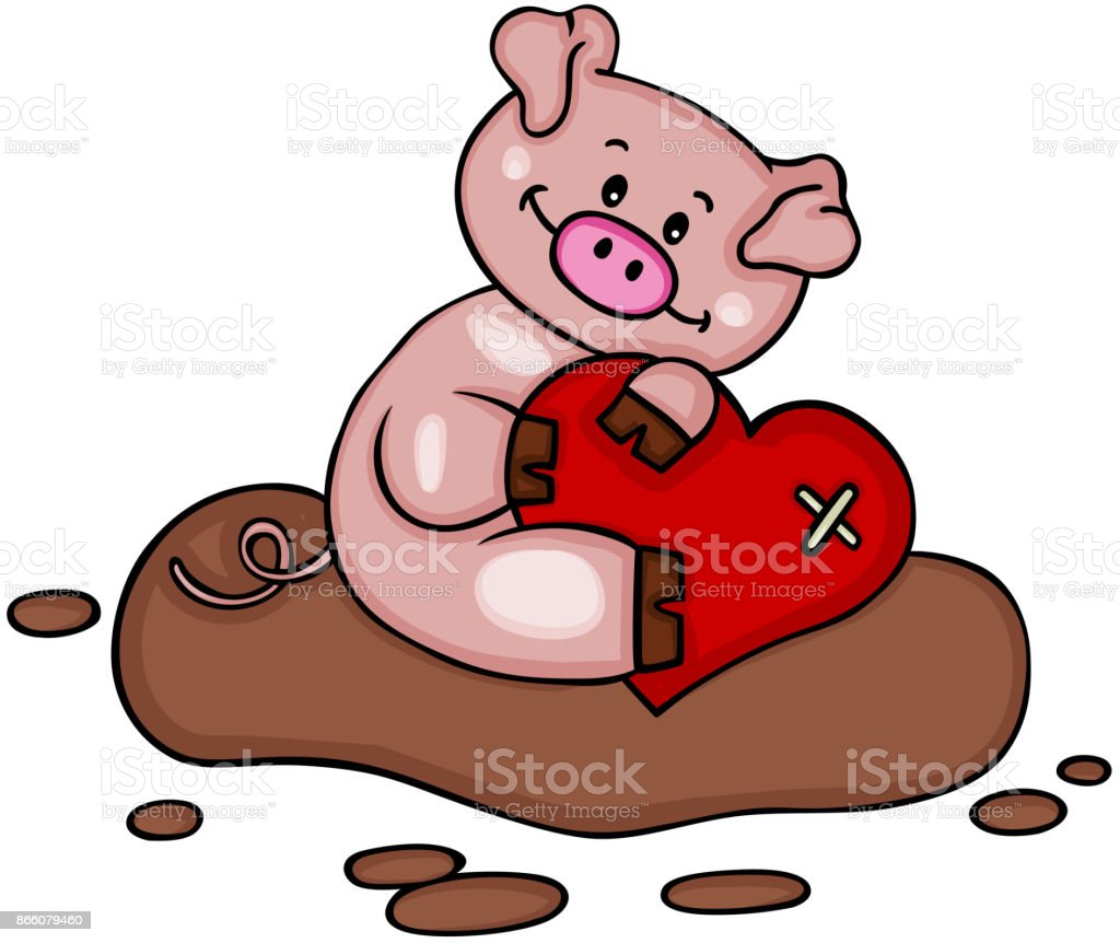 Cute Pig Holding A Heart Royalty Free Stock Vector Art