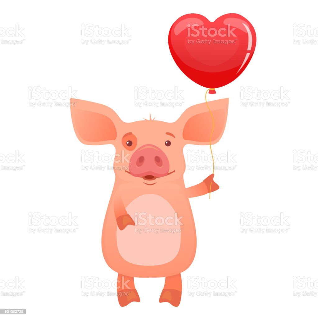 かわいいブタの持株のバルーン。陽気な小さな豚ベクトル図 - イラストレーションのロイヤリティフリーベクトルアート