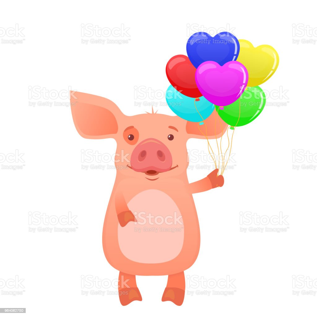 Cute pig holding balloons. happy pig with a gift vector illustration - Royalty-free Animal stock vector