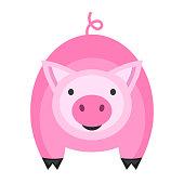 Cute pig icon.