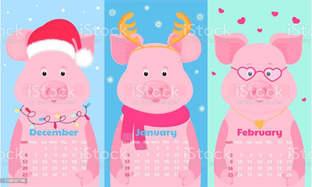 December Calendar 2020 Santa Cute Pig In Santa Hat With Deer Horns Scarf And Glasses Funny