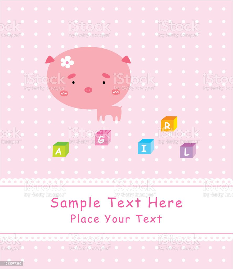 cute pig it is a girl announcement card stock vector art more
