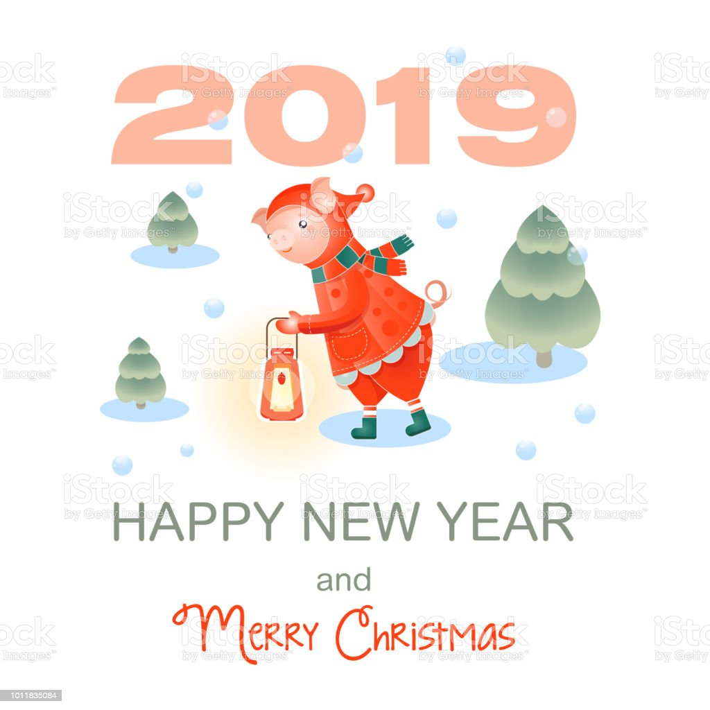 merry christmas and happy new year vector illustration chinese calendar for