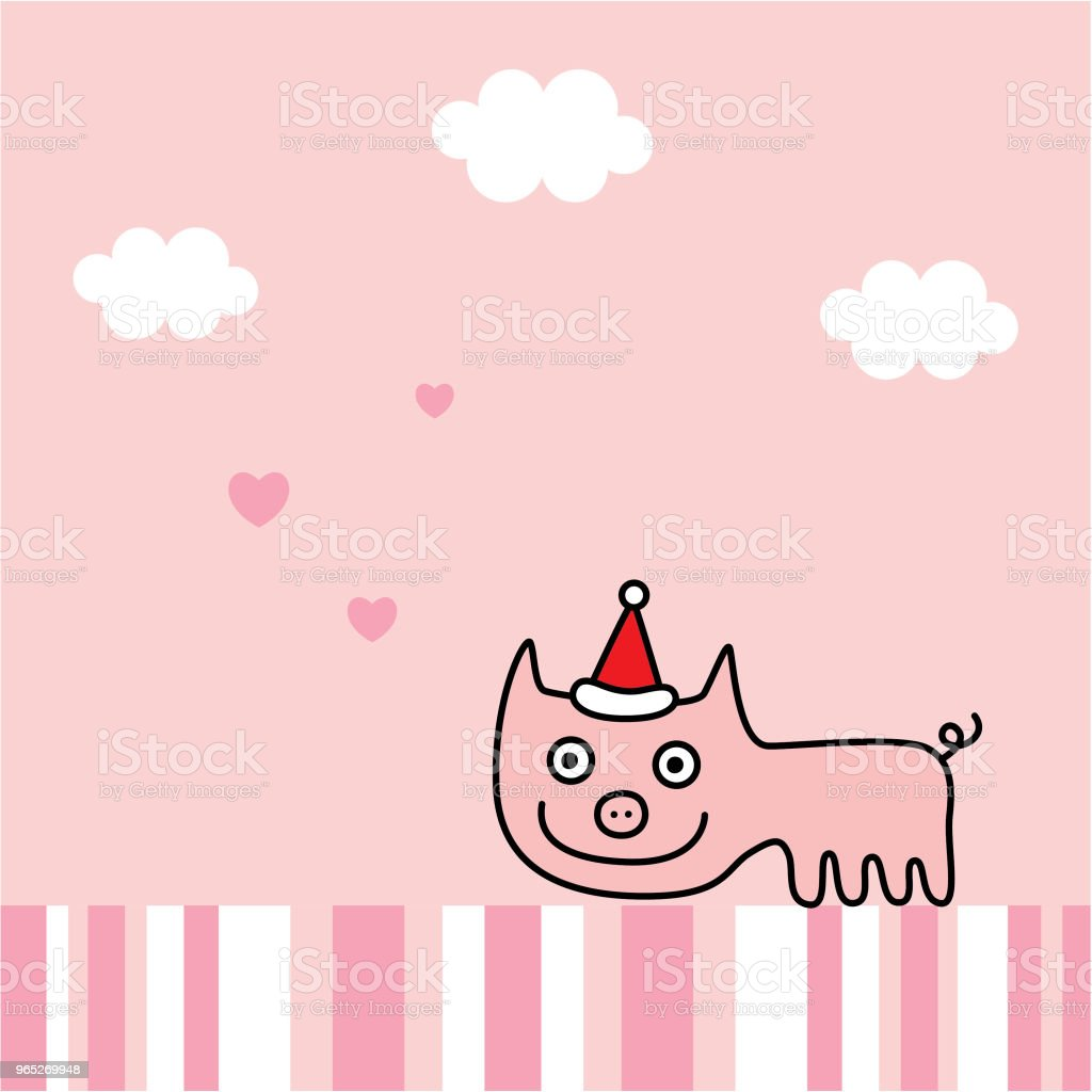 cute pig merry christmas greeting card vector royalty-free cute pig merry christmas greeting card vector stock vector art & more images of animal