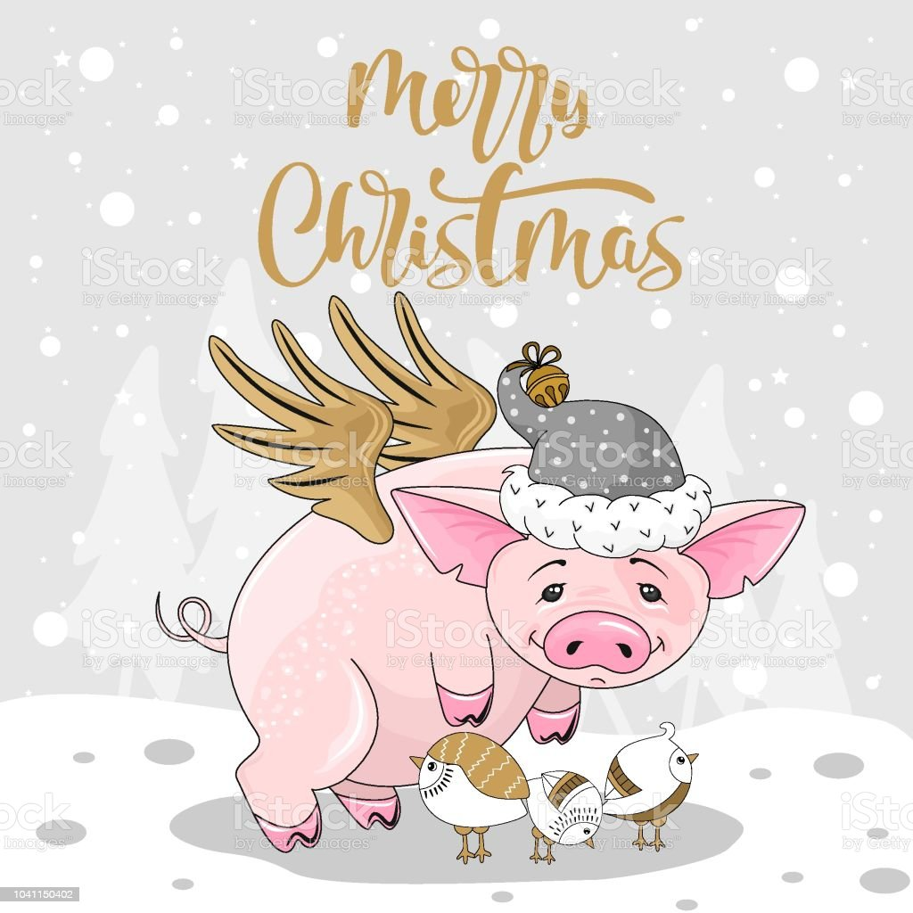 cute pig on christmas and new year background vector illustration royalty free cute
