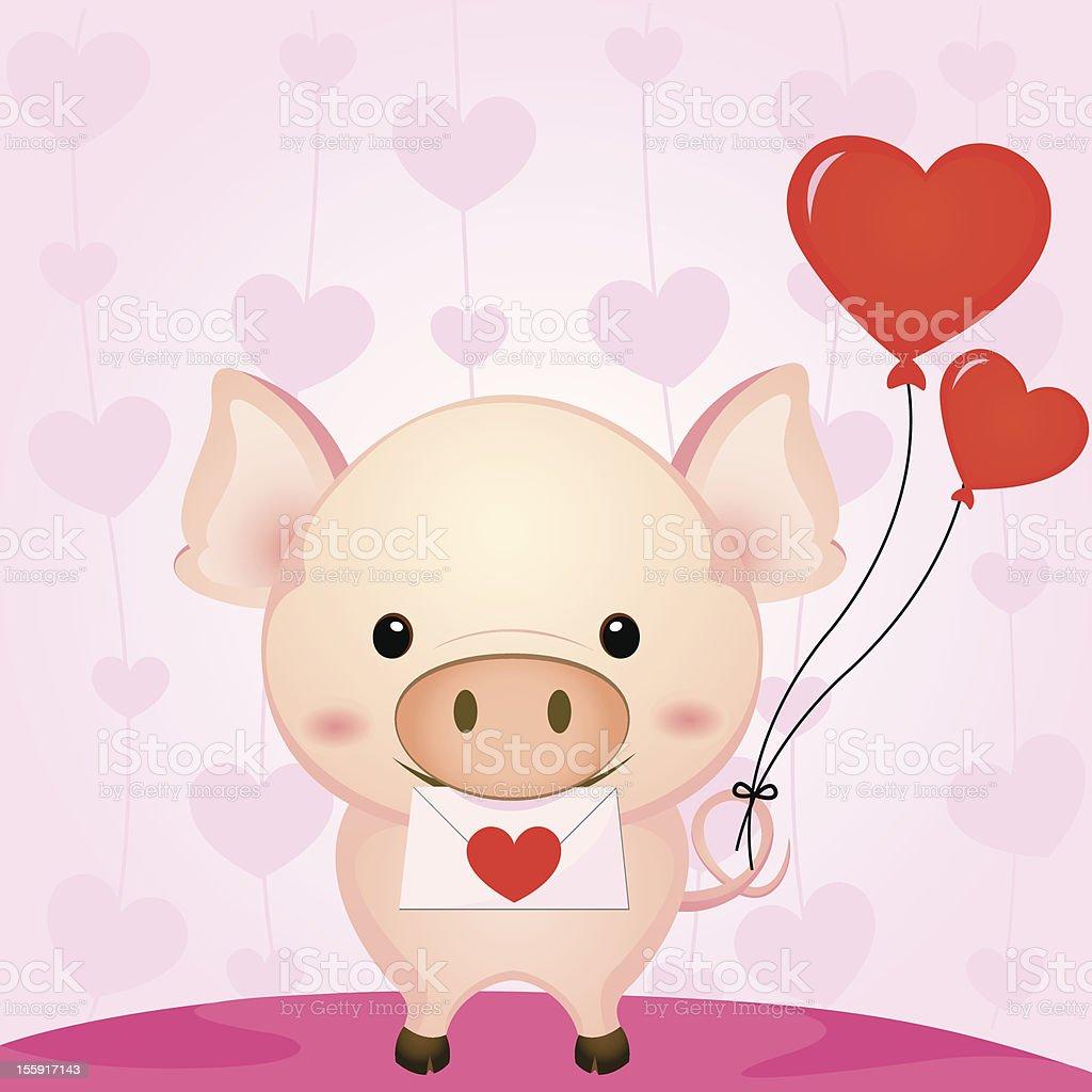 かわいい豚て愛の手紙熱気球 のイラスト素材 155917143   istock