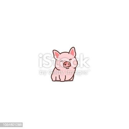 Cute pig smiling cartoon icon, vector illustration