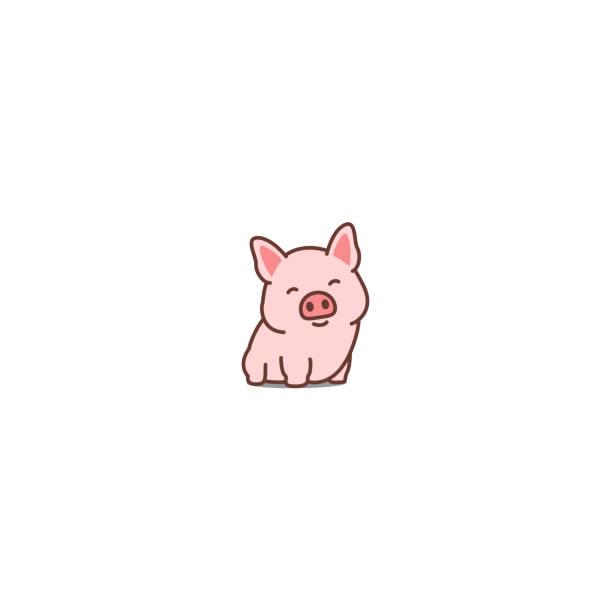 stockillustraties, clipart, cartoons en iconen met hartje glimlachend cartoon icoon, vectorillustratie - pig farm