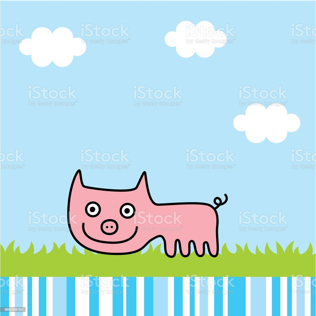 cute pig spring picture vector cute pig spring picture vector - stockowe grafiki wektorowe i więcej obrazów baby shower royalty-free