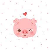 animal,cute, pig, flower,crown,blue, hearts, pattern,design,baby,smiling,animal,kid