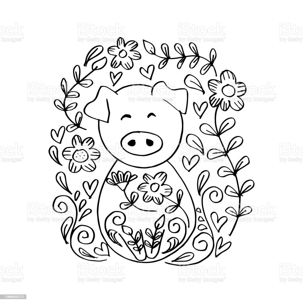Year of the pig 2019 coloring pages ~ Cute Pig With Floral Coloring Book Year Of The Pig 2019 ...