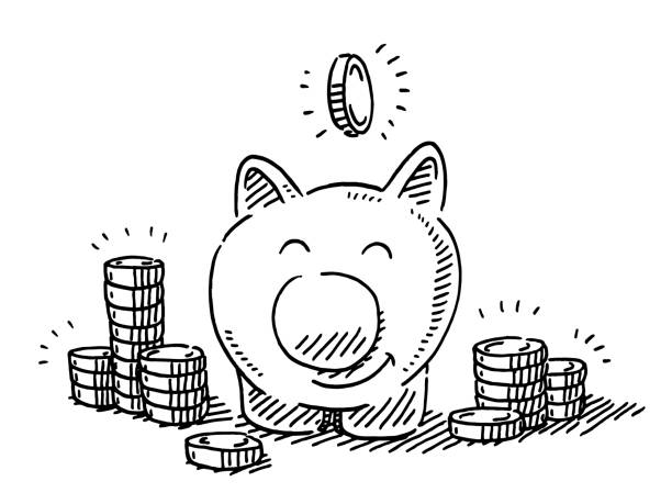 Cute Piggy Bank And Coins Drawing vector art illustration