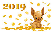 Cute piggy bank. Cartoon character design. Little pig sit with gold coin. Falling coins. Flat vector illustration on white background. 2019 year.