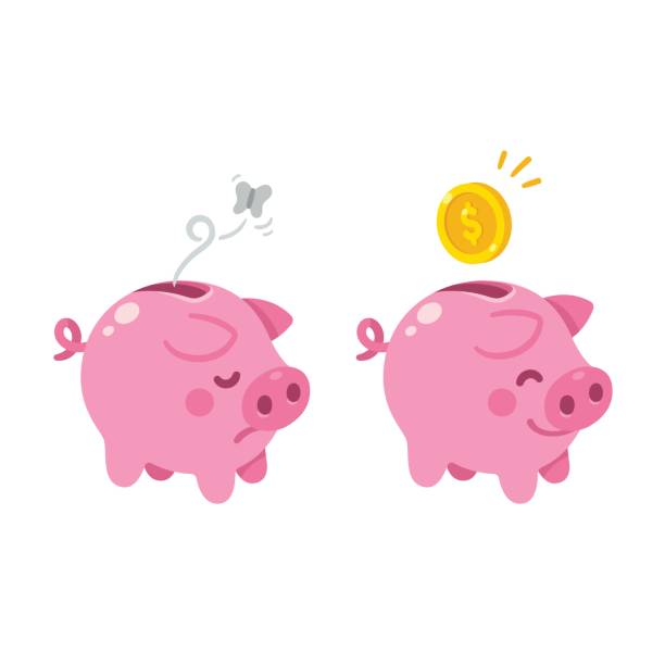 cute piggy bank illustration Cute cartoon piggy bank illustration. Sad empty and happy with money. piggy bank stock illustrations