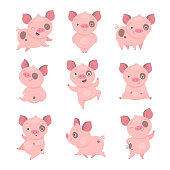 Vector illustration of funny cartoon pink piggy in different poses. Isolated on white.