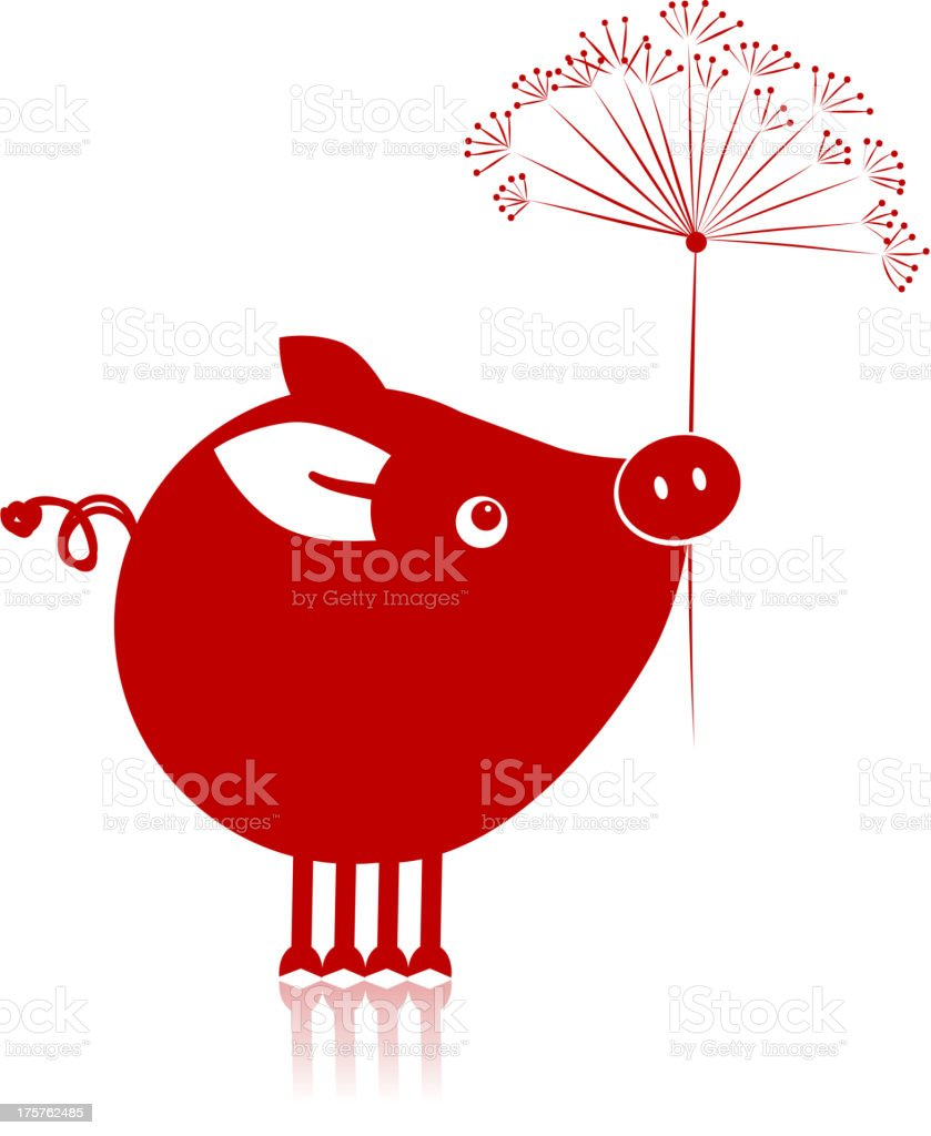 Cute piggy with flower for your design royalty-free stock vector art