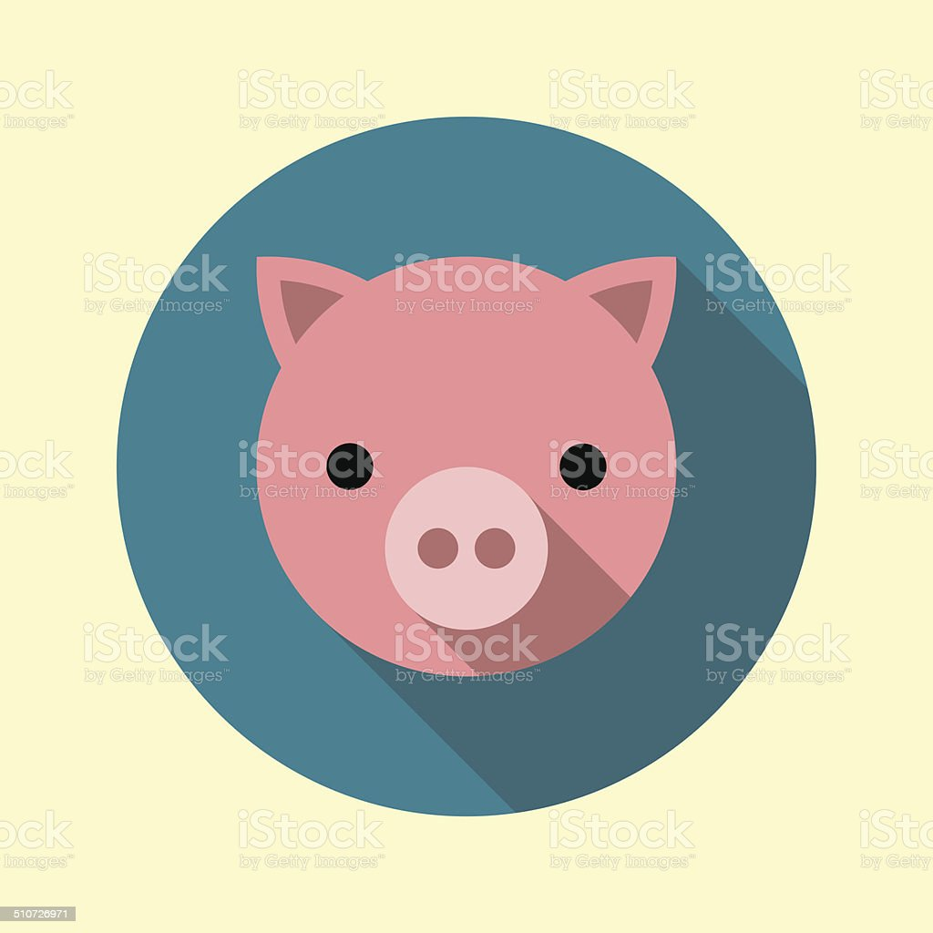 Cute piglet icon. Animal icons series. vector art illustration