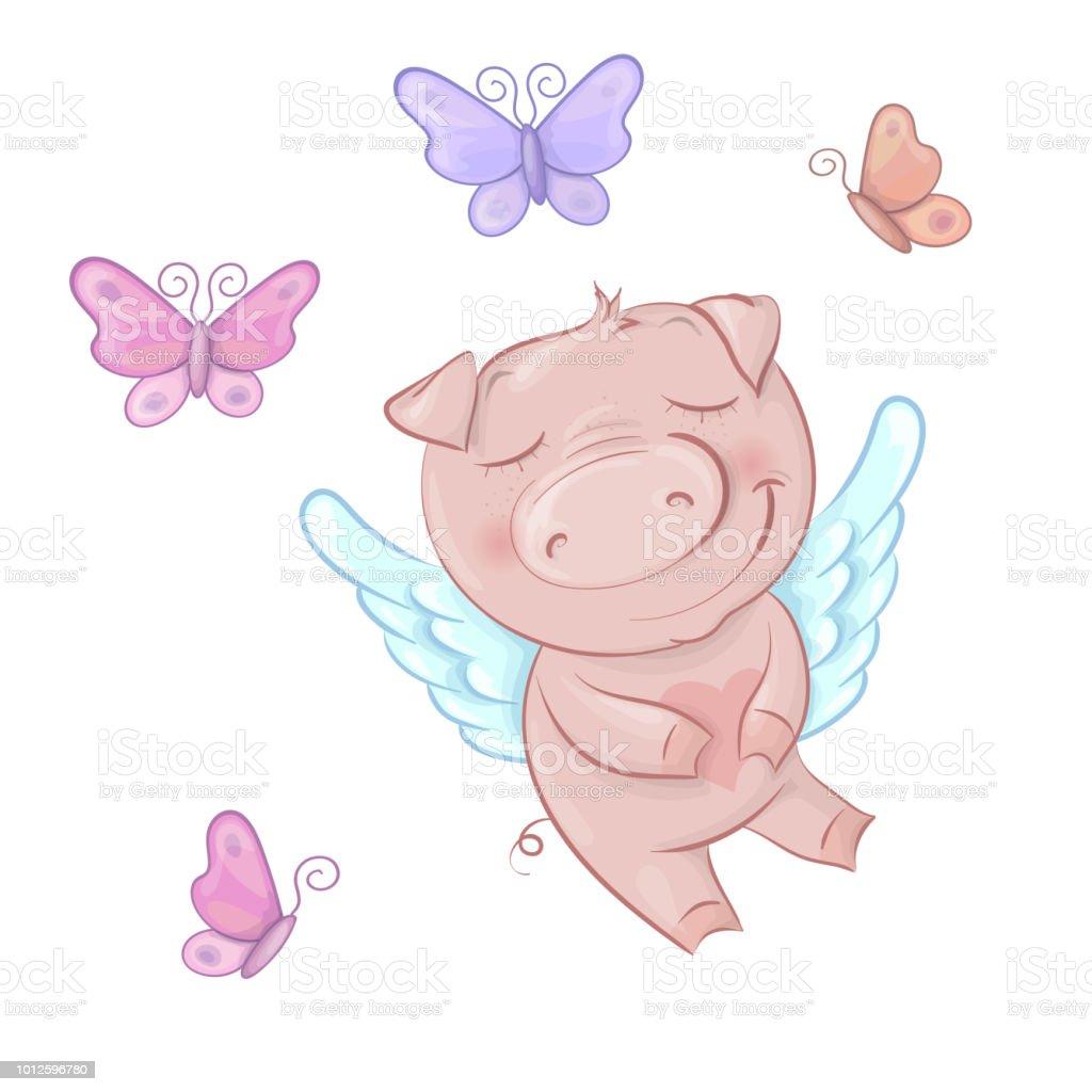 Süße Schweine Engel Im Cartoonstil Funny Valentines Day Inmitten ...